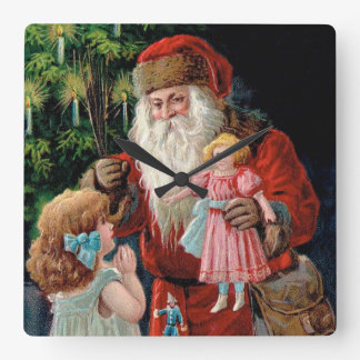 Santa Claus Visiting a Girl Square Wall Clock