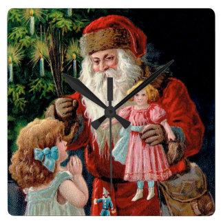 Santa Claus Visiting a Girl Square Wallclocks