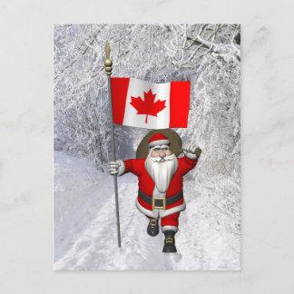 Santa Claus Visiting Canada Holiday Postcard