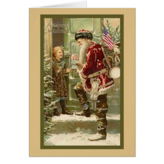 Santa Claus  Visiting Child at Christmas Card