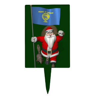 Santa Claus Visiting The Beaver State Cake Toppers
