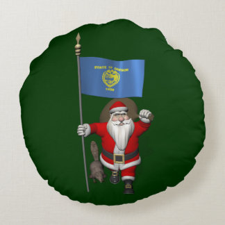 Santa Claus Visiting The Beaver State Round Pillow
