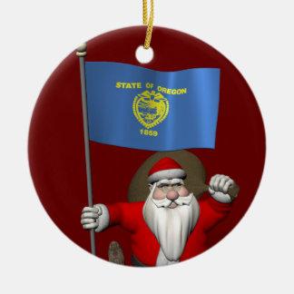 Santa Claus Visits TheUS  Beaver State Ceramic Ornament