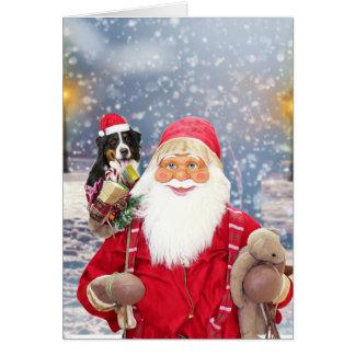 Santa Claus w Christmas Gifts Bernese Mountain Dog Card