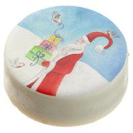 Santa Claus watercolor art Christmas holiday oreos Chocolate Covered Oreo