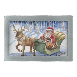 Santa Claus Watercolor Illustrated Belt Buckle