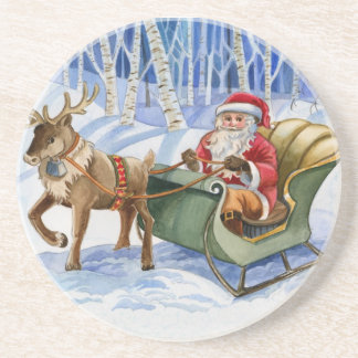 Santa Claus Watercolor Stone Coaster