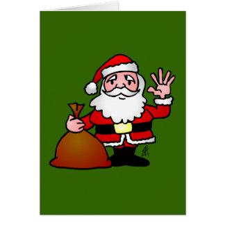 Santa Claus waving Greeting Cards