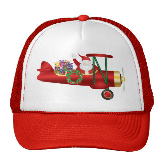 Santa Claus Waving on Biplane with Presents Hat