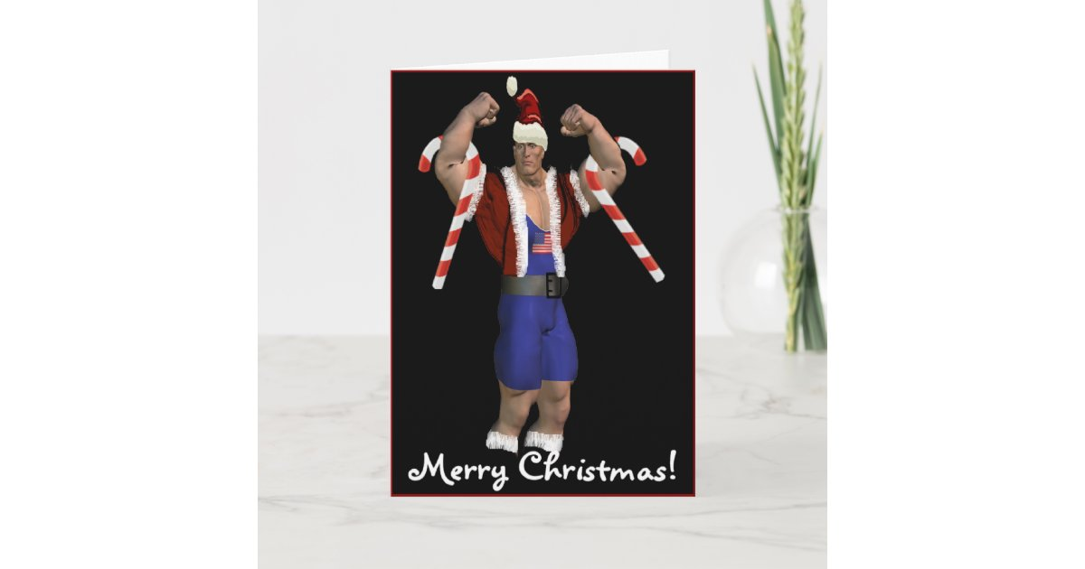 Santa Claus Weightlifter Merry Christmas Card | Zazzle.com