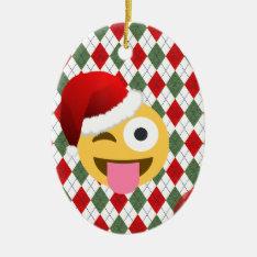 Santa Claus Wink Emoji Ceramic Ornament at Zazzle