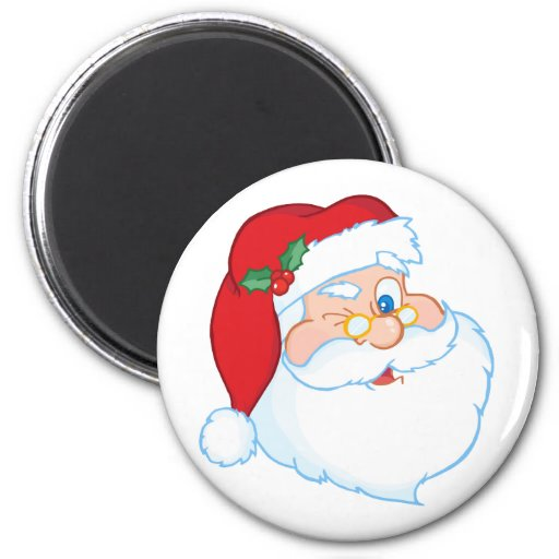 Santa Claus Winking 2 Inch Round Magnet