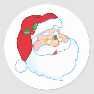 Santa Claus Winking Classic Round Sticker
