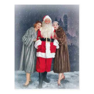 Santa Claus With 1950s Girls Postcard