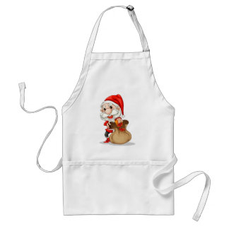Santa Claus with a brown sack Adult Apron