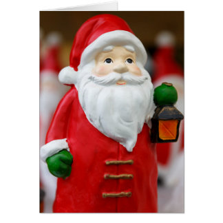 Santa Claus with a lantern Christmas decoration Card