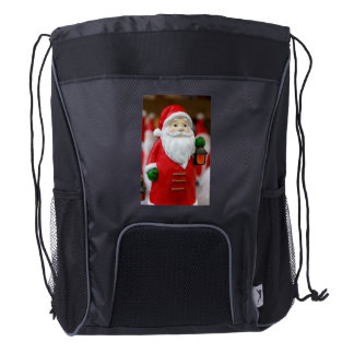 Santa Claus with a lantern Christmas decoration Drawstring Backpack