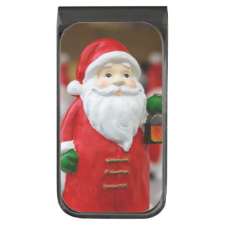Santa Claus with a lantern Christmas decoration Gunmetal Finish Money Clip