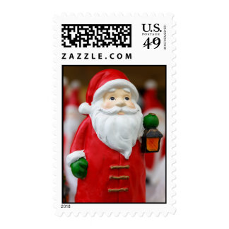 Santa Claus with a lantern Christmas decoration Postage