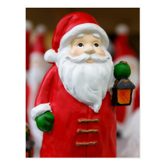 Santa Claus with a lantern Christmas decoration Postcard