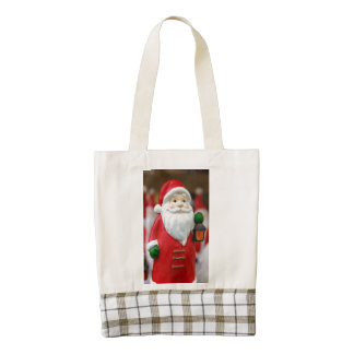 Santa Claus with a lantern Christmas decoration Zazzle HEART Tote Bag