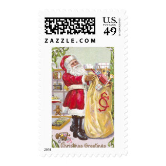 Santa Claus with a Sack Full of Toys Postage