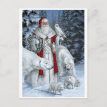 Santa Claus With An Owl And Polar Bears Holiday Postcard