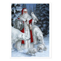 Santa Claus With An Owl And Polar Bears Postcard