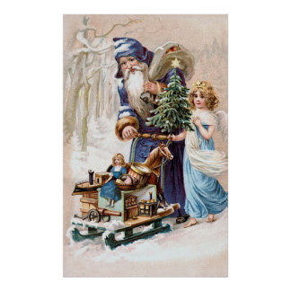 Santa Claus with Angel Poster