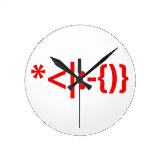 Santa Claus with Beard Christmas Smiley Emoticon Round Wall Clocks