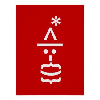 Santa Claus with Beard Christmas Smiley Emoticon Poster