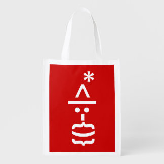 Santa Claus with Beard Christmas Smiley Emoticon Reusable Grocery Bag