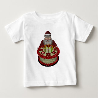 Santa Claus With Birthday Cake Baby T-Shirt