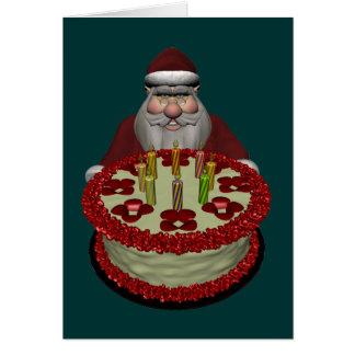 Santa Claus With Birthday Cake Greeting Card