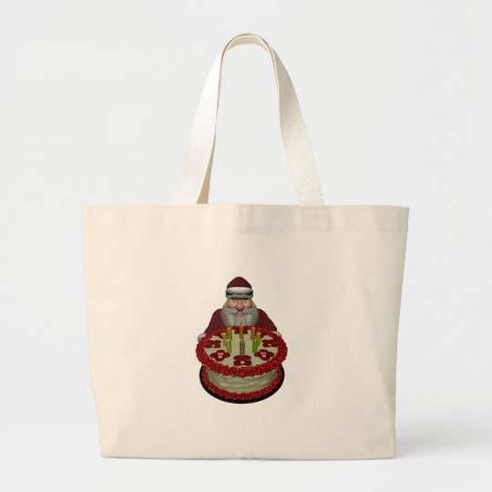 Santa Claus With Birthday Cake Large Tote Bag