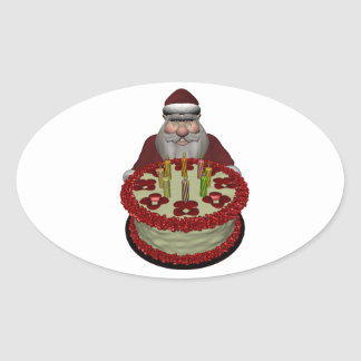 Santa Claus With Birthday Cake Oval Sticker
