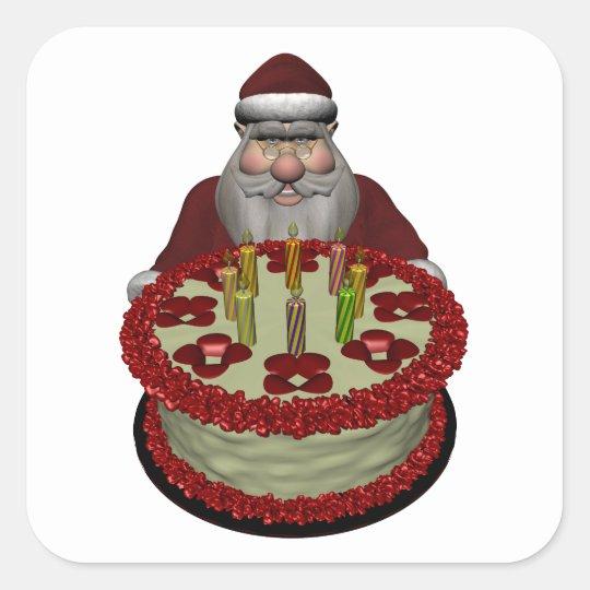 Santa Claus With Birthday Cake Square Sticker