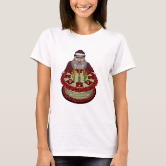 Santa Claus With Birthday Cake T-Shirt