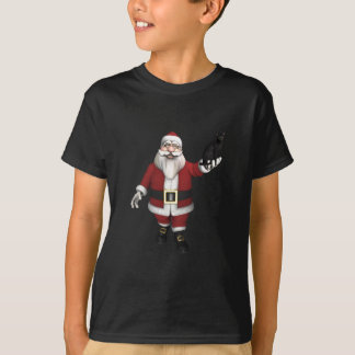 Santa Claus With Black Cat T-Shirt