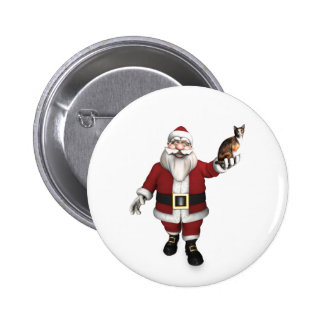 Santa Claus With Calico Cat Button