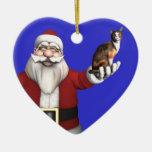 Santa Claus With Calico Cat Ceramic Ornament