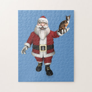 Santa Claus With Calico Cat Jigsaw Puzzle