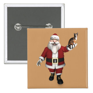 Santa Claus With Calico Cat Pinback Button