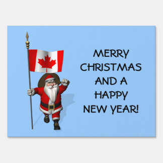Santa Claus With Canadian Flag Sign