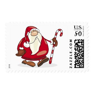 Santa claus With Candy Cane Postage