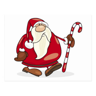 Santa claus With Candy Cane Postcard