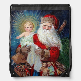 Santa Claus with Christ Child Drawstring Bag
