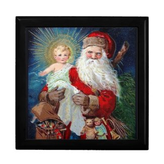 Santa Claus with Christ Child giftbox