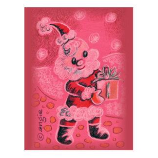 Santa Claus With Christmas Gift Postcard