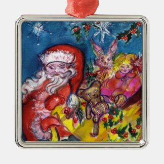 SANTA CLAUS WITH CHRISTMAS GIFTS AND TOYS METAL ORNAMENT